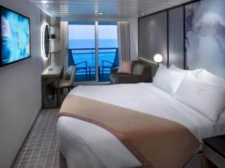 Описание на каюта Guarantee Veranda - Гарантирана каюта с балкон - категория X на круизен кораб Celebrity Summit – обзавеждане, площ