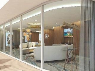 Описание на каюта Penthouse Suite - Супер-луксозен апартамент – категория PS на круизен кораб Celebrity Flora – обзавеждане, площ