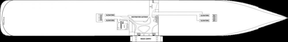 Палуба 2 на круизен кораб Celebrity Edge - разположение на каюти, ресторанти, места за забавления и спорт