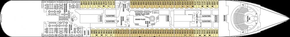 Палуба 3 на круизен кораб Celebrity Edge - разположение на каюти, ресторанти, места за забавления и спорт