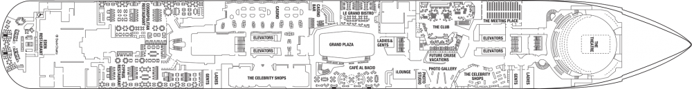 Палуба 4 на круизен кораб Celebrity Edge - разположение на каюти, ресторанти, места за забавления и спорт