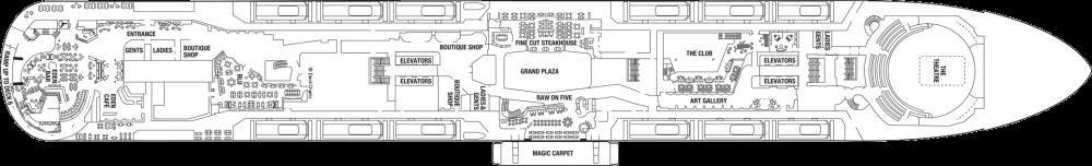 Палуба 5 на круизен кораб Celebrity Edge - разположение на каюти, ресторанти, места за забавления и спорт