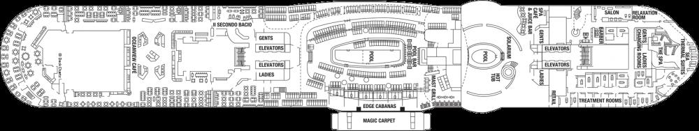Палуба 14 на круизен кораб Celebrity Edge - разположение на каюти, ресторанти, места за забавления и спорт