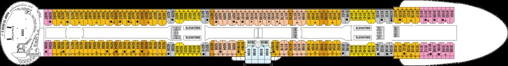 Палуба 6 на круизен кораб Celebrity Apex - разположение на каюти, ресторанти, места за забавления и спорт