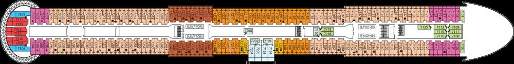 Палуба 7 на круизен кораб Celebrity Apex - разположение на каюти, ресторанти, места за забавления и спорт