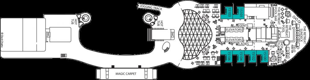 Палуба 16 на круизен кораб Celebrity Apex - разположение на каюти, ресторанти, места за забавления и спорт
