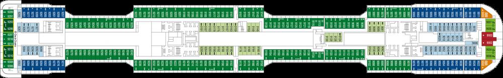 Палуба 9 на круизен кораб MSC Virtuosa - разположение на каюти, ресторанти, места за забавления и спорт