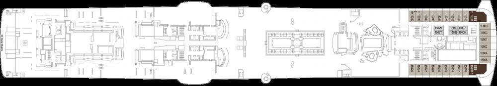 Палуба 15 на круизен кораб MSC Virtuosa - разположение на каюти, ресторанти, места за забавления и спорт
