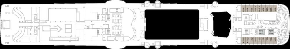 Палуба 16 на круизен кораб MSC Virtuosa - разположение на каюти, ресторанти, места за забавления и спорт
