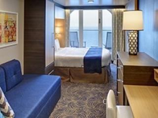 Описание на каюта Ocean View Balcony – категории 6D на круизен кораб ODYSSEY of the Seas – обзавеждане, площ