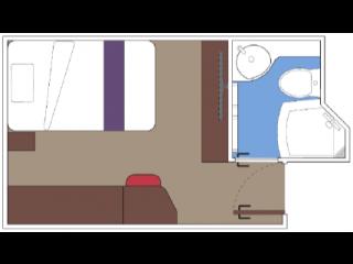 Описание на каюта Вътрешни студиа - клас BELLA на круизен кораб MSC World Europa – обзавеждане, площ