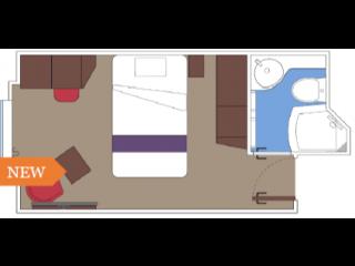 Описание на каюта Външни студиа - клас BELLA на круизен кораб MSC World Europa – обзавеждане, площ
