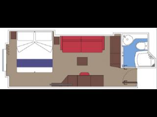 Описание на каюта Външни каюти - клас BELLA на круизен кораб MSC World Europa – обзавеждане, площ