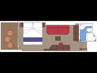 Описание на каюта Каюти с балкон - клас BELLA на круизен кораб MSC World Europa – обзавеждане, площ