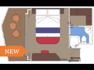 Описание на каюта Каюти с балкон и изглед към променадата - клас FANTASTICA на круизен кораб MSC World Europa – обзавеждане, площ