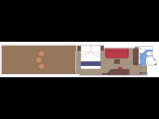 Описание на каюта Каюта със собствен плаж - клас FANTASTICA на круизен кораб MSC World Europa – обзавеждане, площ
