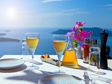 чаши Санторини гледки маси
